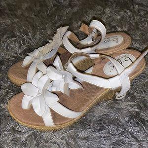 White strap 3in wedge heels